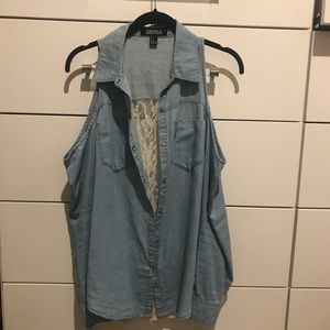 Denim and lace top